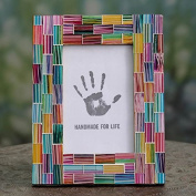 Handcrafted Glass Mosaic 'Indian Rainbow' 4 x 6 Photo Frame