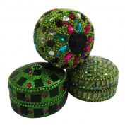 Decorative Jewellery Box Beaded Aluminium Material Handmade Green Storage Case Women's Accessory Gift Items Set of 3 Pcs