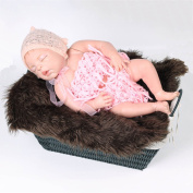 Sunmig Newborn Baby Photo Props Faux Fur Mat Rug Photography Background Backdrops Basket Stuffer Blanket