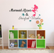 Mermaid Kisses & Starfish Wishes Quote Vinyl Wall Decal - FREE 30cm NAME DECAL - Size 90cm Wide by 36cm High - Mermaid Kisses & Starfish Wishes Quote - Mermaid Decal, Mermaids, Mermaid life, Vinyl, Decal, Vinyl Stickers - Girls Wall Decal V23