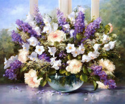 Rihe Paintworks Diy Oil Painting Paint By Number Kits Purple Flower 16*50cm