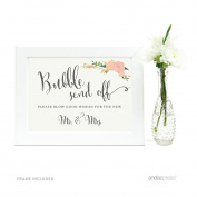 Andaz Press Wedding Framed Party Signs, Floral Roses, 13cm x 18cm , Bubble Send Off Please Blow Good Wishes for the New Mr. & Mrs. Sign, 1-Pack, Includes Frame