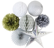 SUNBEAUTY Pack of 7 Gold White Silver Paper Decoration Tissue Pom Poms Flowers Paper Star for Wedding Birthday Party Home Decorations