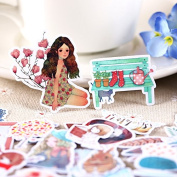 33pcs Self-made Beautiful Girl Colourful Scrapbooking Floral Stickers DIY Craft DIY Sticker