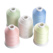 5 Different Colours Glow In the Dark Embroidery Thread 1000 Yards Each