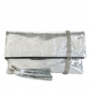 JNB Women's Cracked Metallic Fabric Foldover Clutch with Tassel