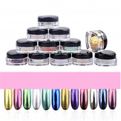 GBSELL 12 Colours Glitter Powder Shinning Nail Mirror Makeup With Sponge Stick