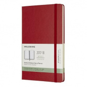 Moleskine 18 Month Weekly Planner, Large, Scarlet Red, Hard Cover