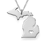 1pcs/lot Stainless Steel Michigan Map Charm Pendant Necklaces with a Heart