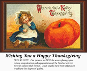 Wishing You a Happy Thanksgiving, Vintage Counted Cross Stitch Pattern