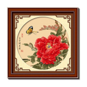DOMEI Stamped Cross Stitch Kit, Butterfly and Red Peony, 60cm x 60cm