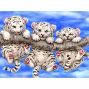MECO 5D Three Tigers DIY Diamond Painting Cross Stitch Kits Home Decor Full Drilled Square Needlework Diy Diamond Painting Cross Stitch Square Diamond Emboridery