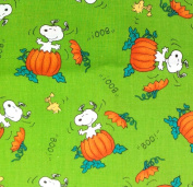 "1/2 Yard - Snoopy & Woodstock ""The Great Pumpkin"" on Green Peanuts Halloween Fabric (Great for Quilting, Sewing, Craft Projects, Throw Pillows & More) 1/2 Yard X 110cm Wide"