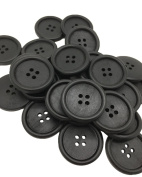 30 Pack Okallo Products Large Black Wooden Buttons - 30 MM (1 3/16 inches) Diameter - 4 Hole Wood Button