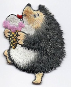 ANIMALS-HEDGEHOG w/ICE CREAM CONE/Iron On Embroidered Applique/Cute Critters