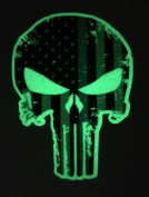 Glow in the Dark Tattered 13cm x 10cm Subdued Us Flag Punisher Skull Decal with Thin Blue Line