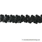 1 Row 2.2cm Stretch Sequin Trim, Las Vegas 1 Style, Black, 6 YD