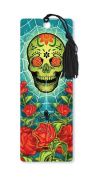 Dimension 9 3D Lenticular Bookmark with Tassel, Sugar Skull Featuring Spider Web and Roses