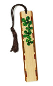 Mitercraft 4 Leaf Clover - Lucky Clover - Engraved Wooden Bookmark for Teens with Tassel