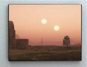 Framed Star Wars R2D2 Sunset on Tatooine 22cm X 28cm Art Print