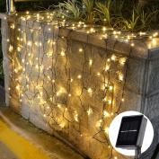 [22m 200 Led] Solar String Lights Outdoor\Garden Lighting, 8 Mode (Steady, Flash), Waterproof, Fairy Lamp Decoration for Halloween, Yard, Fence, Patio, Tree, Party, Holiday, Home