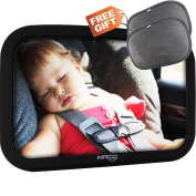 MacoBrothers Baby backseat car mirror–Infant rear view facing backseat mirror-large crystal clear,360 Degree adjustment flexibility and highly reflective shatterproof acrylic convex mirror
