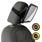ROYAL RASCALS Baby Car Mirror | #1 SAFEST rear view mirror for rearward facing child seat | BLACK | Fits any adjustable headrest | Tilt and turn function | 100% shatterproof | PREMIUM SAFETY PRODUCT