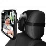JOJOO Baby Car Mirror - Rear View Infant Car Back Seat Mirror - Rear Facing Mirrors - Wide Convex Shatterproof Glass - 100% Safety, MA010
