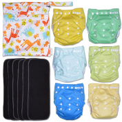Sunshine Landscape 13-Piece Baby Gift Set - Pack of 6 Cloth Nappies, 6 Bamboo Charcoal Inserts and WetDry Bag, Baby Gift All in One Cloth Nappy Set C