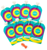 Reusable Baby Food Pouch (8-Pack) — Refillable 210ml Toddler Squeeze Pouches w/Leak Proof Cap – Ideal for Homemade Puree, Drinks, Snacks, Yoghurt, Pudding