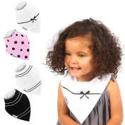 Baby Bandana Drool Bibs for Drooling and Teething, 4 Pack Gift Set For Girls by ikkletots