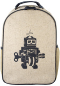 SoYoung Raw Linen Toddler Backpack, Grey Robot