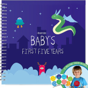 Baby's First Five Years Memory Book With 12 Milestone Stickers, Monsters Explorer Edition