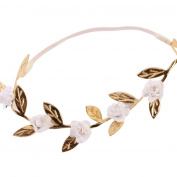 Alonea Baby Girls Rose Flower Golden Leaves Headband Elastics for Newborns Hair Head Band
