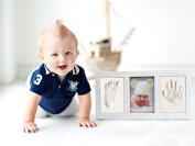 Baby Boy Girl Handprint Footprint, Safe Clay Babyprint Casting Impression Kit, Classic Desktop Wooden Photo Frame, Baby Gift for Registry White