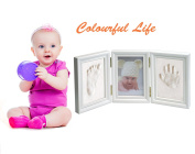 Baby Safe Clay Handprint footprint Keepsake Kit, Quality Wood Frame With Safe Acrylic Glass ,Great Baby Gift, Newborn For Registry White