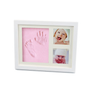 Baby Handprint and Footprint Safe Clay Environmental and Non-Toxic ,Wood Picture Frame Kit For New Born Baby,Baby Keepsake Gift, Preserves Priceless Memories For Baby Registry By Colourful Life Pink