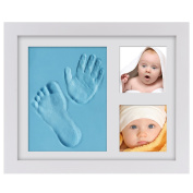 Baby Keepsake Gifts, PChero Baby Handprint and Footprints Frame Wood Frames Kit with Safe Acrylic Glass and Clay, Preserves Priceless Memories for Baby Shower Decorations & Registry - [Light Blue]