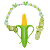 Mom Miya Baby Corn Or Banana Bendable Training Toothbrush With Hain Set For Infants