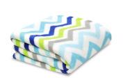 Little Starter Plush Toddler Blanket, Blue Chevron