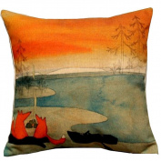 Hatop Red Fox ContemplatingDecorative Throw Pillow Cover Cushion Cover Pillow