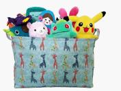 Pink Canvas Toy Storage Bin with Giraffe Prints