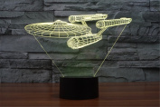 LOTOS® Star Trek Battleship 3D Optical Illusion Multi-coloured Change Touch Botton Desk Lamp Table Light