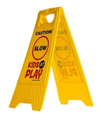 "Kids Playing Safety Sign (Double-Sided) - ""Caution, Slow, Kids at Play"""