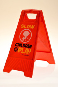 "Children at Play Slow Sign for Yards and Driveways (Double-Sided, Red) - ""Slow, Children at Play"""
