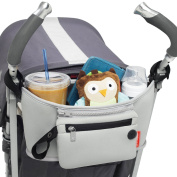 Stroller Organiser Bags Universal Fits All Cup Holder & Baby Detachable Zippered Nappy Storage Pocket