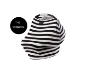 """Milk Snob Infant Car Seat Cover and Nursing Cover Multi-Use 360° Coverage Breathable Stretchy """"Black and Ivory Stripes"""" THE ORIGINAL MILK SNOB"""