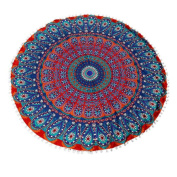 Cinidy Round Large Mandala Floor Pillows Round Bohemian Meditation Cushion Cover Ottoman Pouffe