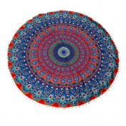 Cinidy Round Large Mandala Floor Pillows Round Bohemian Meditation Cushion Cover Ottoman Pouffe
