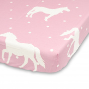 Cuddly Cubs Fitted Crib Sheet for Girls - Polka Dots and Horse in White & Pink - Soft Nursery Bedding - Best Infant Bed Sheets For Baby Shower Gift
